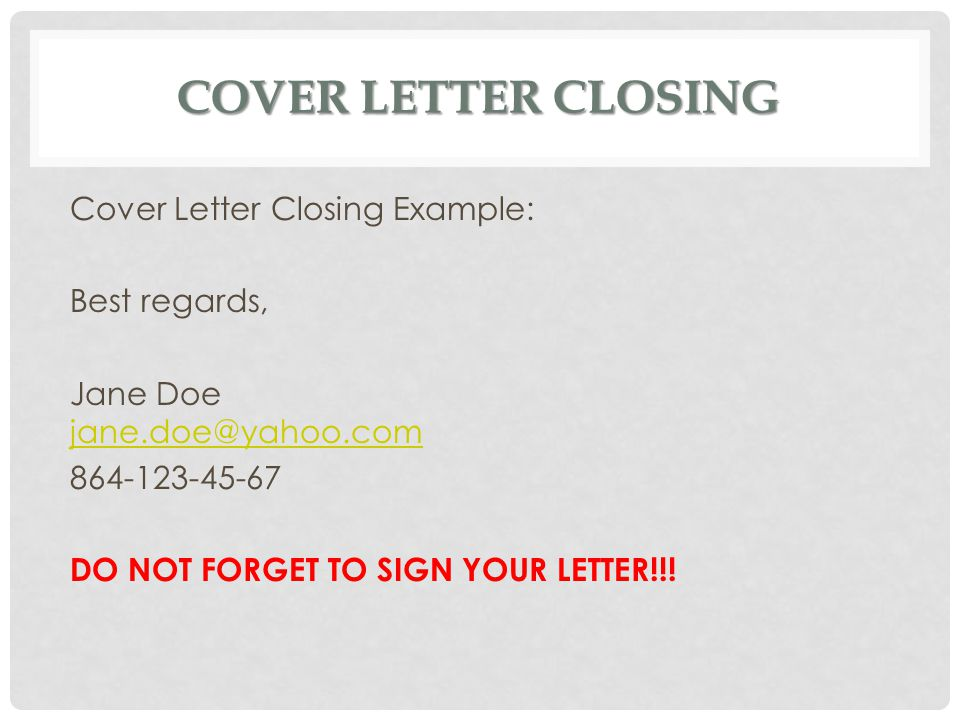 cover letter closing cover letter closing example best regards - Closing A Cover Letter