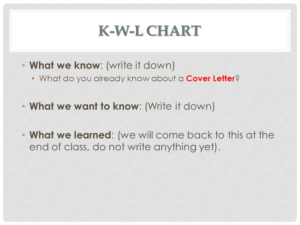 K-W-L chart What we know: (write it down)