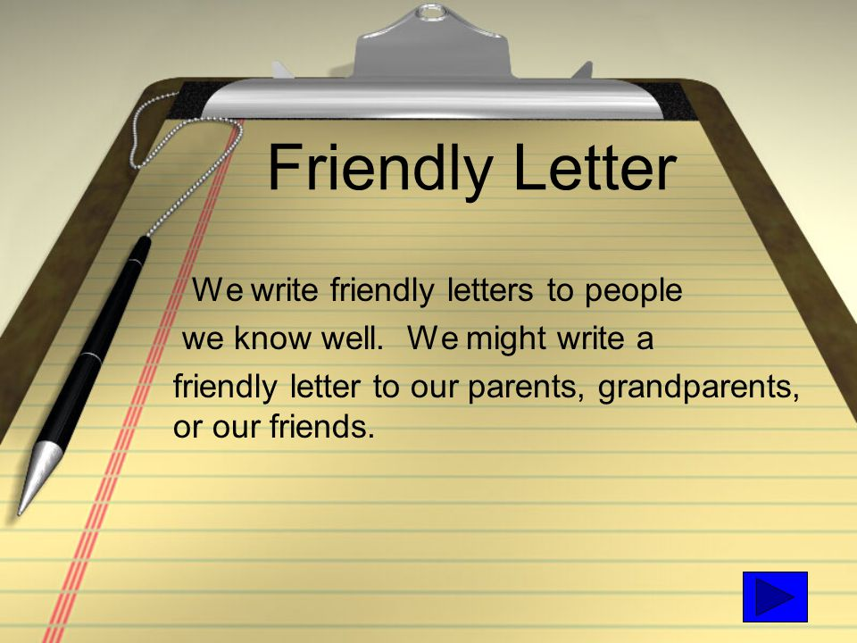 writing a friendly letter video Even though traditional letter writing has taken a backseat to fun ways to teach letter writing it teaches about writing friendly letters as children open.