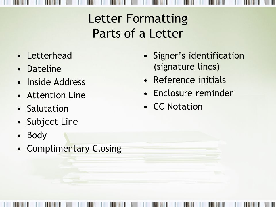 Formatting business documents ppt video online download letter formatting parts of a letter spiritdancerdesigns Choice Image