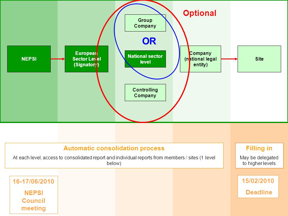 OR Optional Automatic consolidation process Filling in 16-17/06/2010
