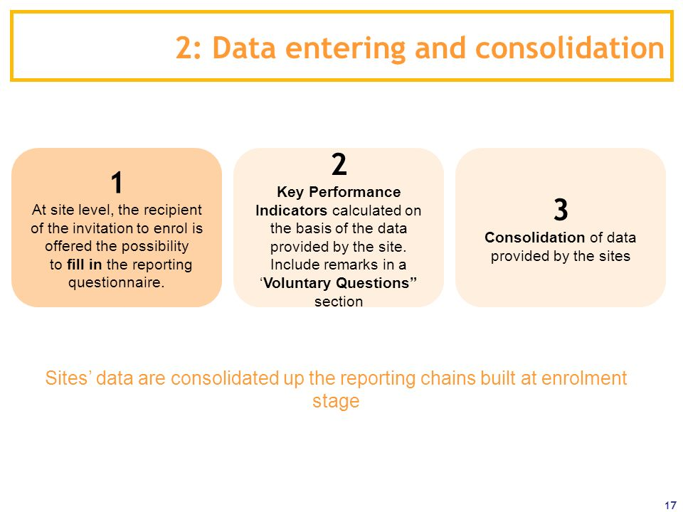 2: Data entering and consolidation