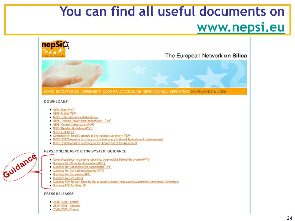 You can find all useful documents on www.nepsi.eu