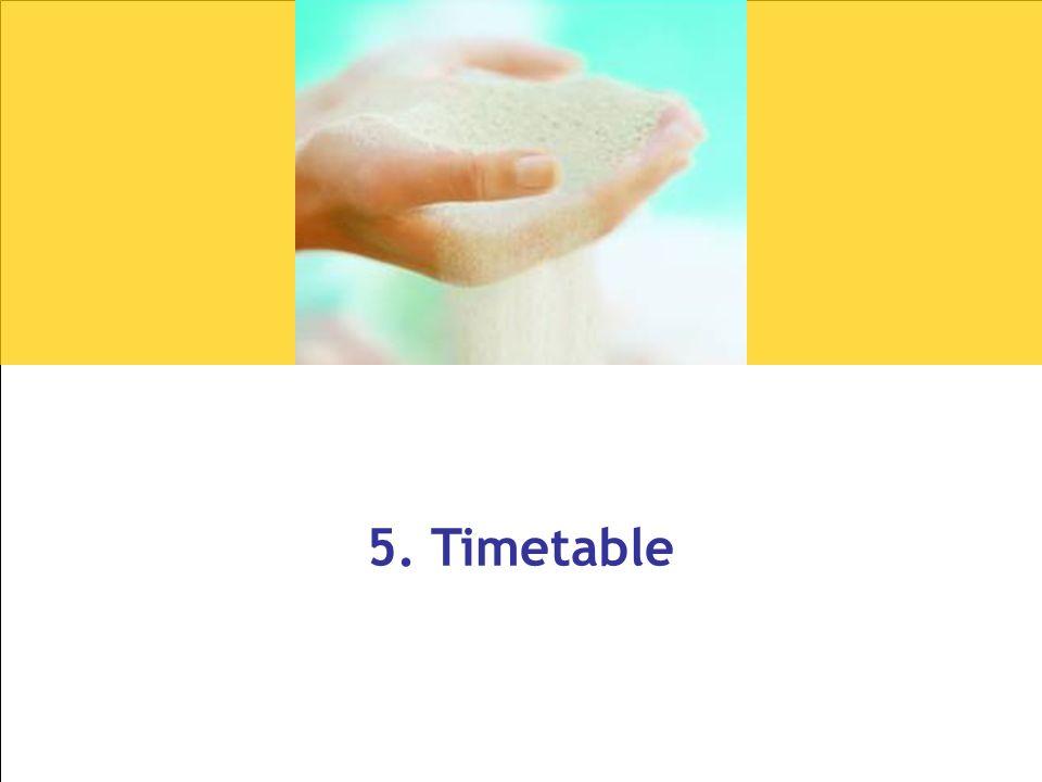 5. Timetable