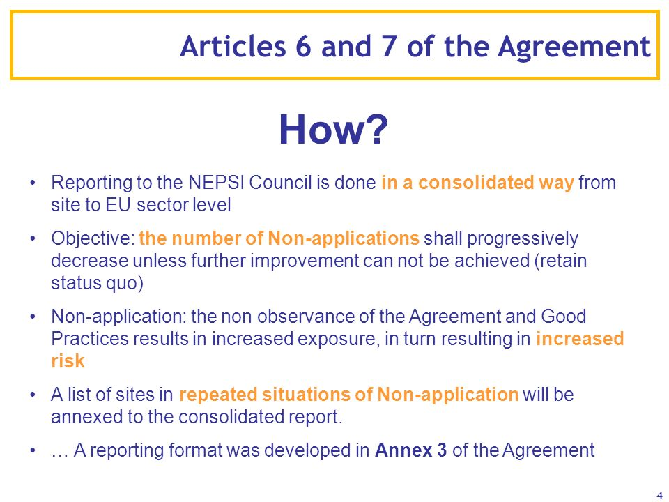 How Articles 6 and 7 of the Agreement