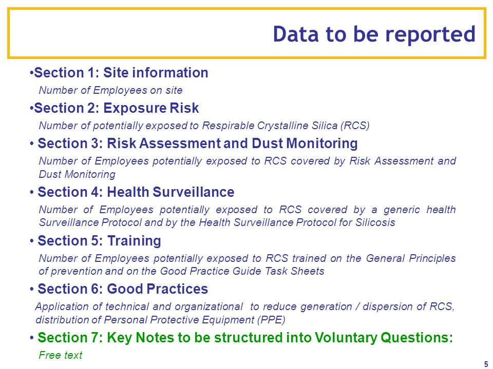 Data to be reported Section 1: Site information