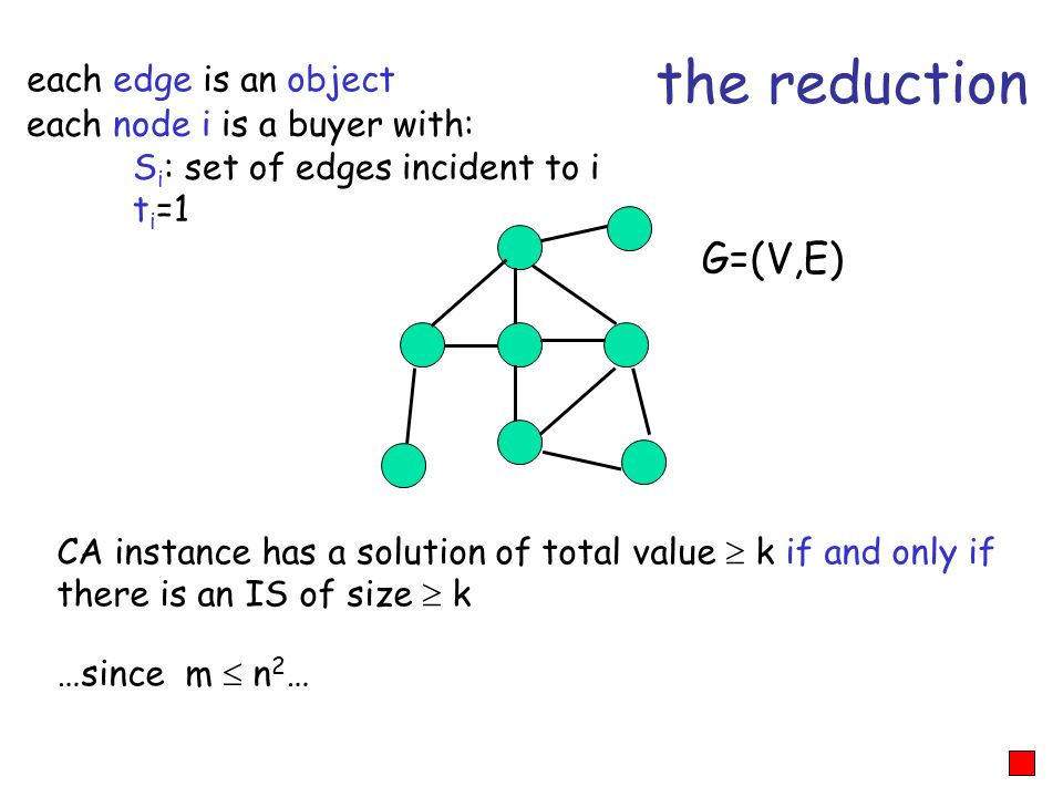 the reduction G=(V,E) each edge is an object