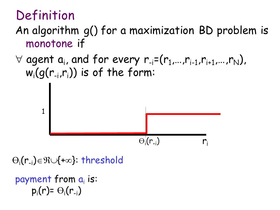 Definition An algorithm g() for a maximization BD problem is monotone if.