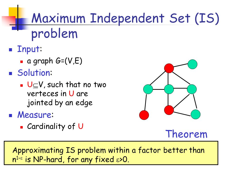 Maximum Independent Set (IS) problem