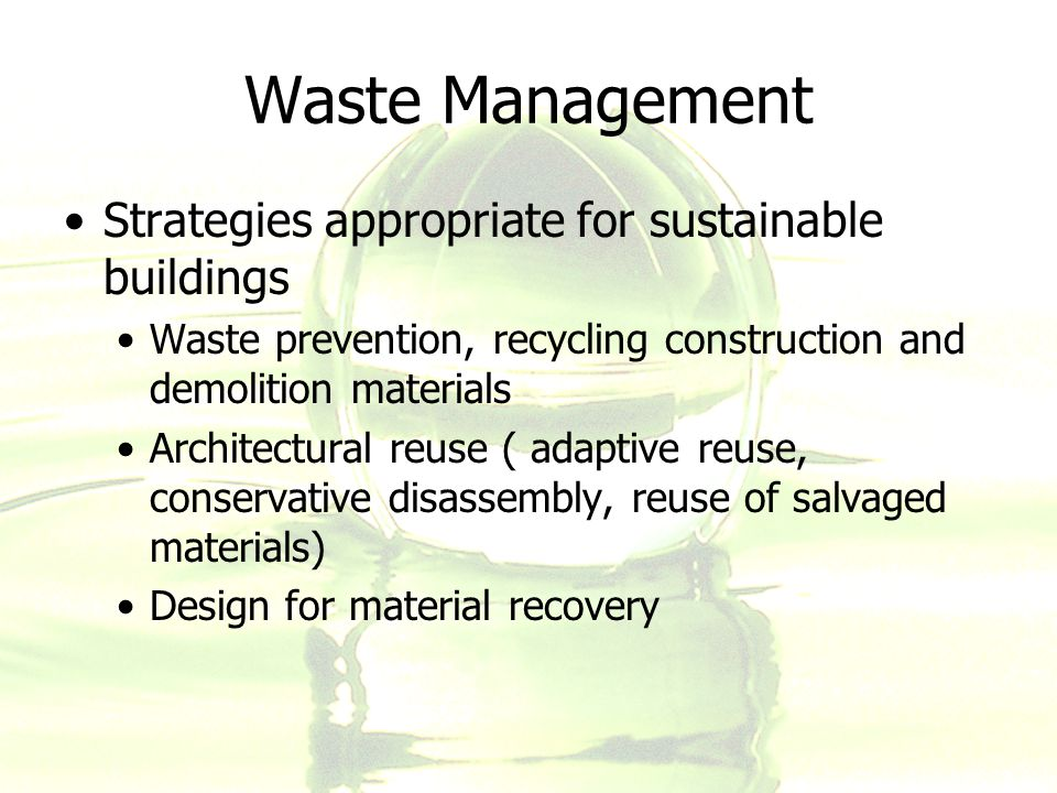 sustainable materials management Sustainability courses and courses that include sustainability at esf as part of  esf's participation in the association for the advancement of sustainability in.
