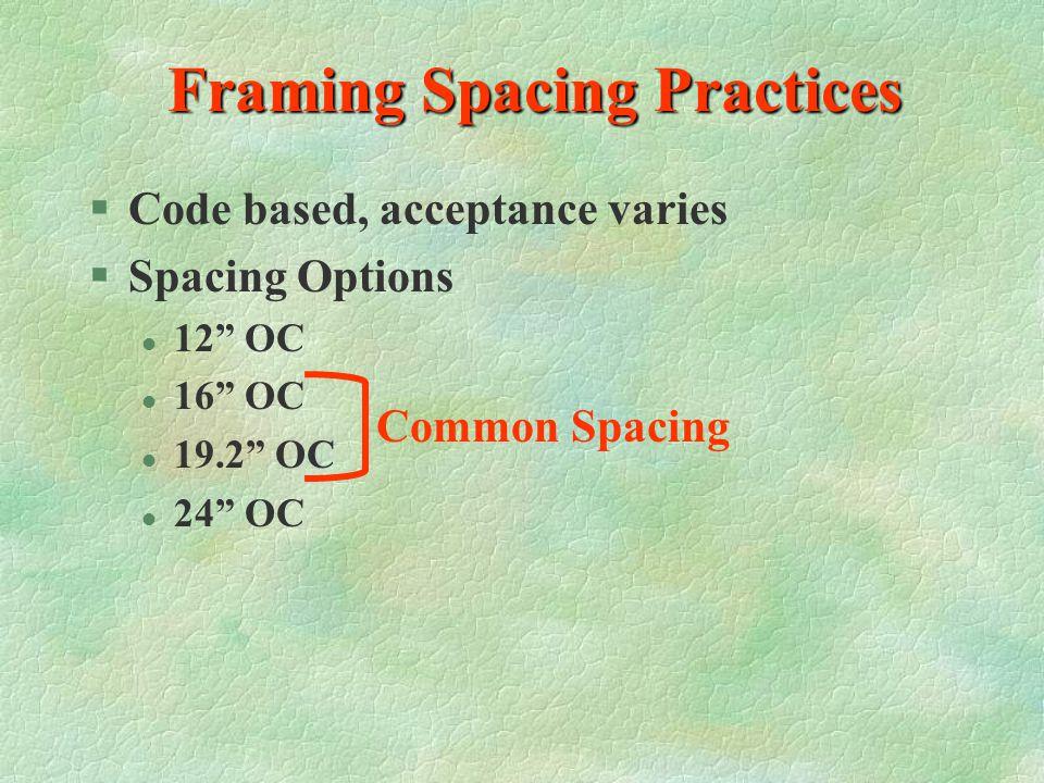 Framing Spacing Practices