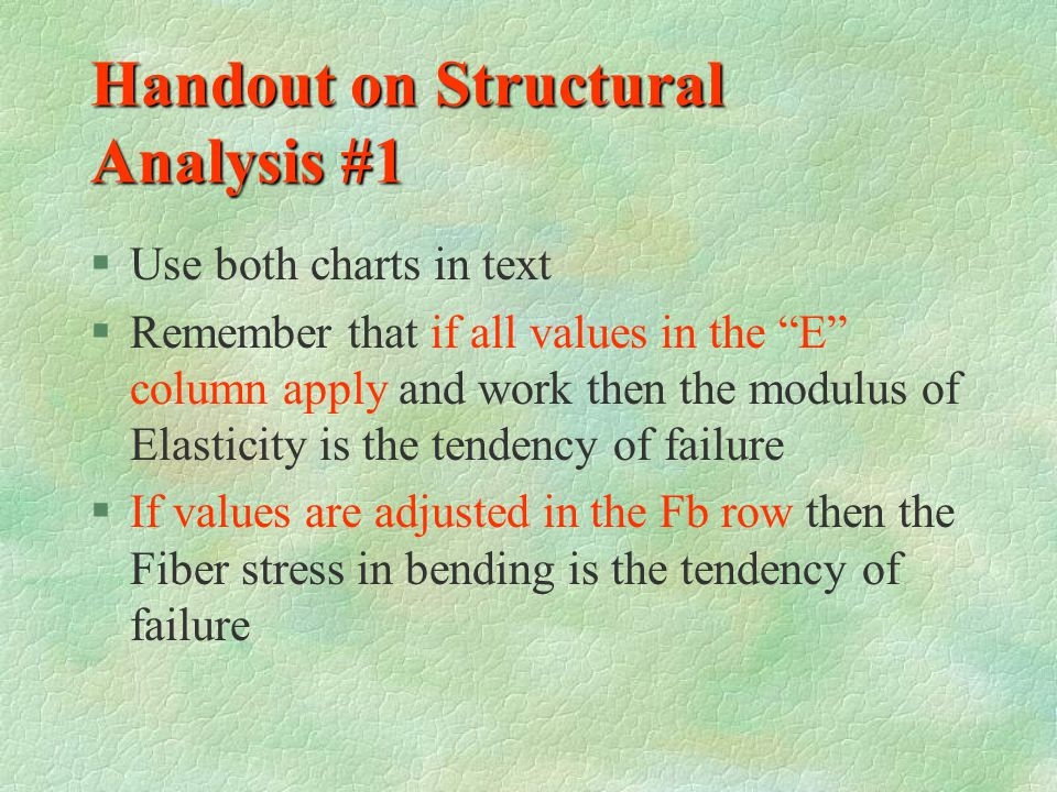 Handout on Structural Analysis #1