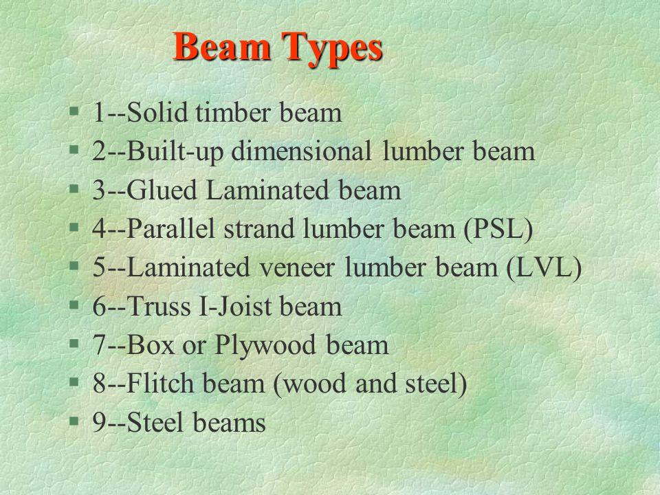 Beam Types 1--Solid timber beam 2--Built-up dimensional lumber beam