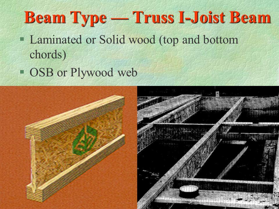 Beam Type — Truss I-Joist Beam
