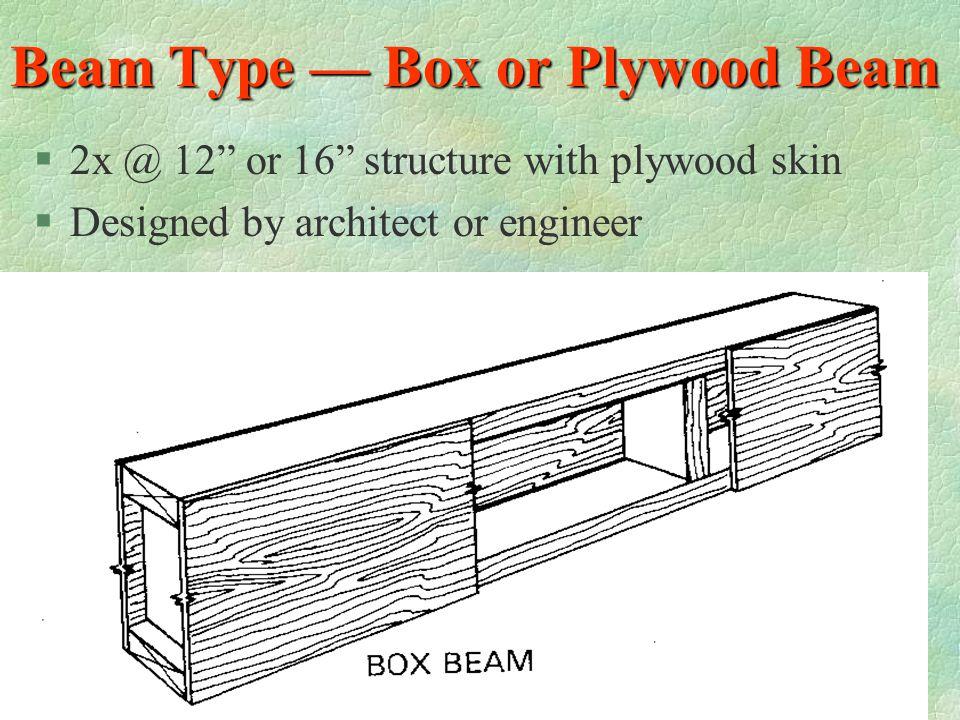 Beam Type — Box or Plywood Beam
