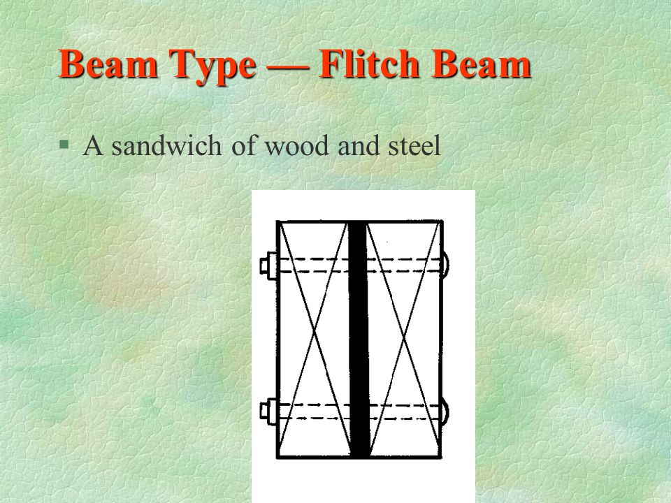 Beam Type — Flitch Beam A sandwich of wood and steel
