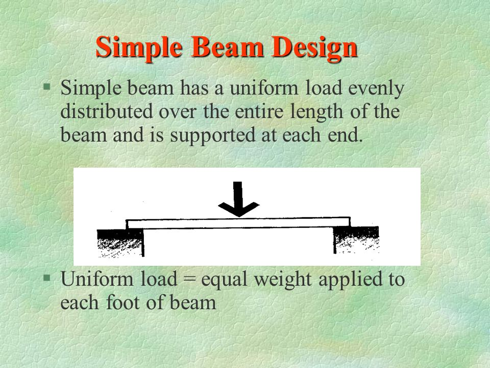 Simple Beam Design Simple beam has a uniform load evenly distributed over the entire length of the beam and is supported at each end.