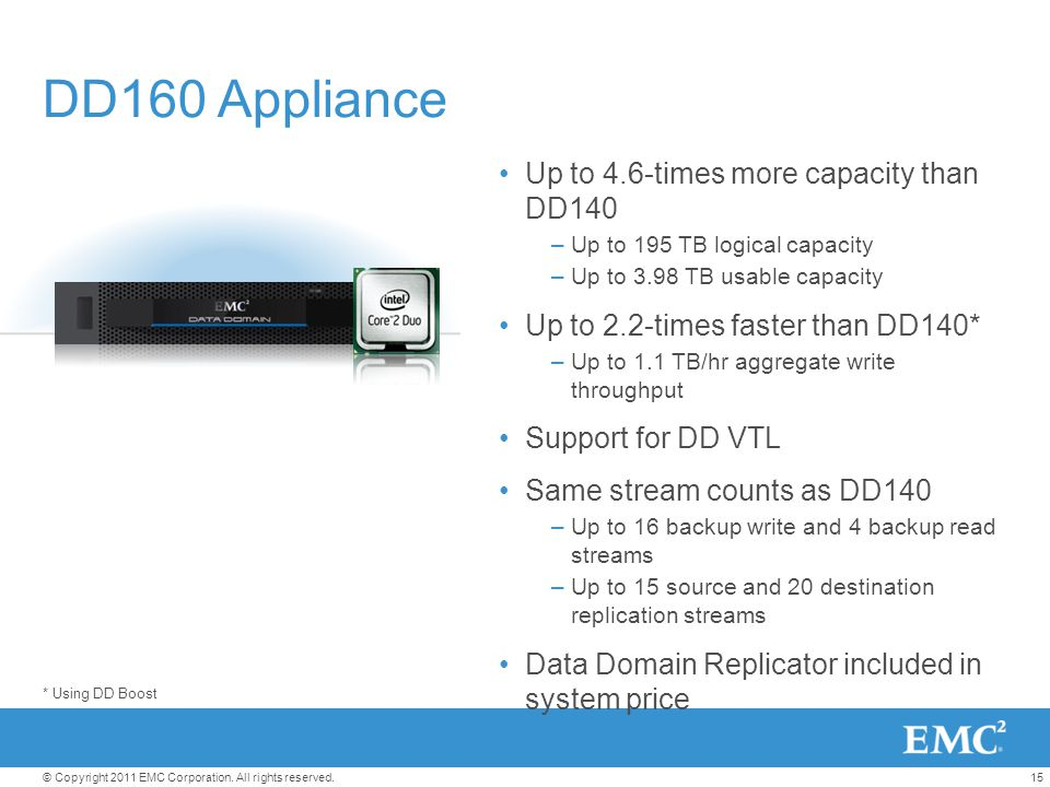 DD160 Appliance Up to 4.6-times more capacity than DD140