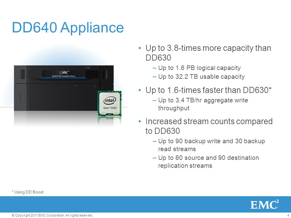 DD640 Appliance Up to 3.8-times more capacity than DD630
