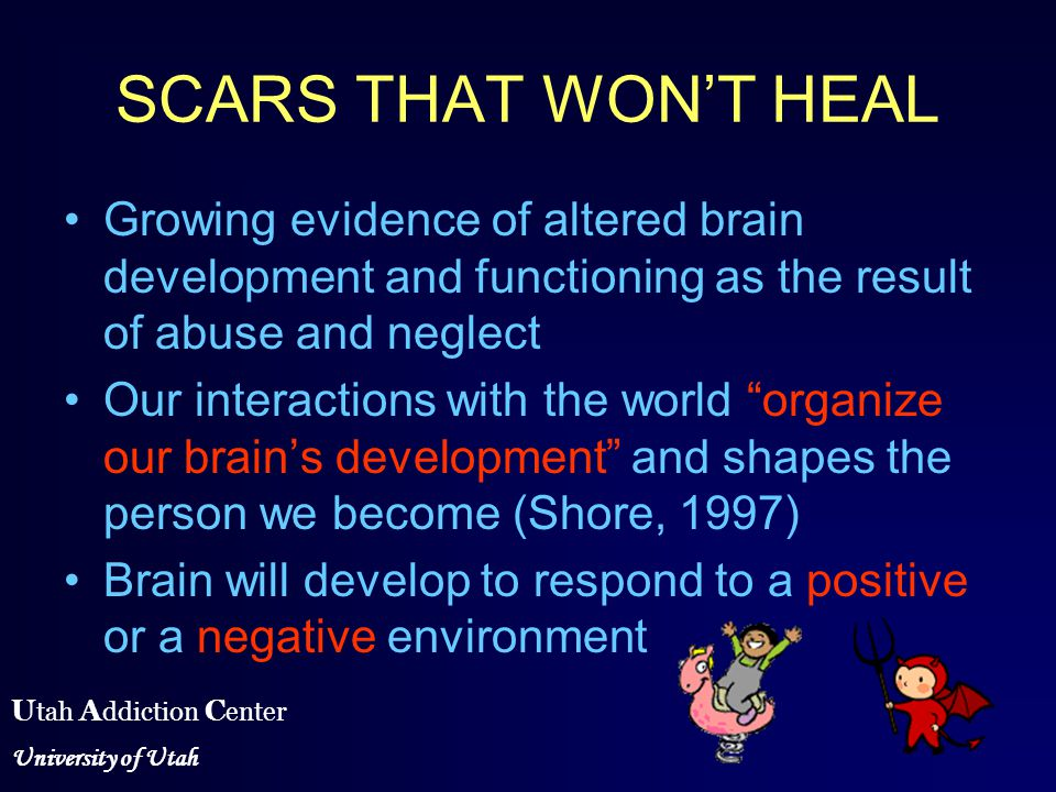 the brain development and violence Domestic violence is harmful to a child's brain development even when they are not direct victims of violence, domestic violence also takes a toll on children in a home during the first three years of a child's life, the stability and quality of relationships in a child's life are highly influential on patterns of early brain development.