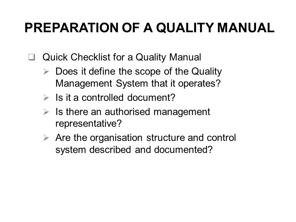 Quality systems approach ppt video online download preparation of a quality manual publicscrutiny Gallery