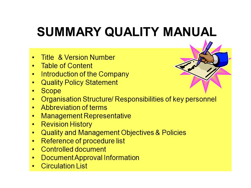 Quality systems approach ppt video online download summary quality manual publicscrutiny Gallery