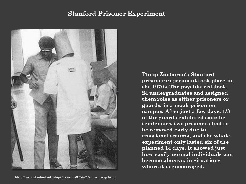 the ethical issues on the stanford prison experiment Psychological experiments can be key to understanding what makes people   have at times overstepped ethical boundaries or might even appear  stanford  prison experiment (1971)  it's one of history's burning questions.