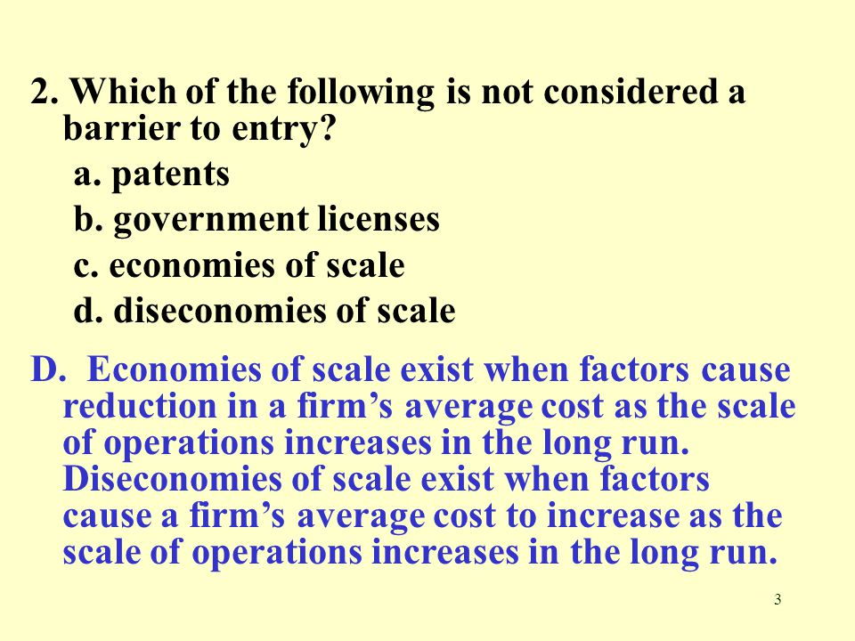 which of the following is a nonprice barrier of entry Competition non-price competition barriers to entry power of firm over price   limit pricing (set price below monopoly price) ▫ extensive.