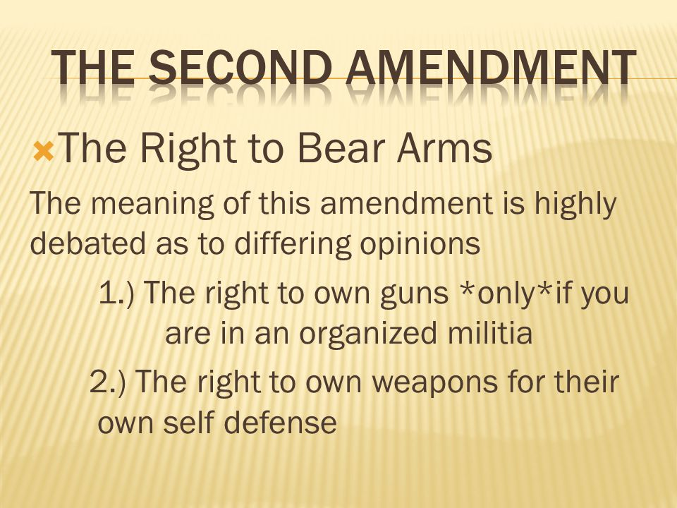 the right of the people to own guns The right to keep and bear arms (often referred to as the right to bear arms) is the people's right to possess weapons (arms) for their own defense, as described in the philosophical and.