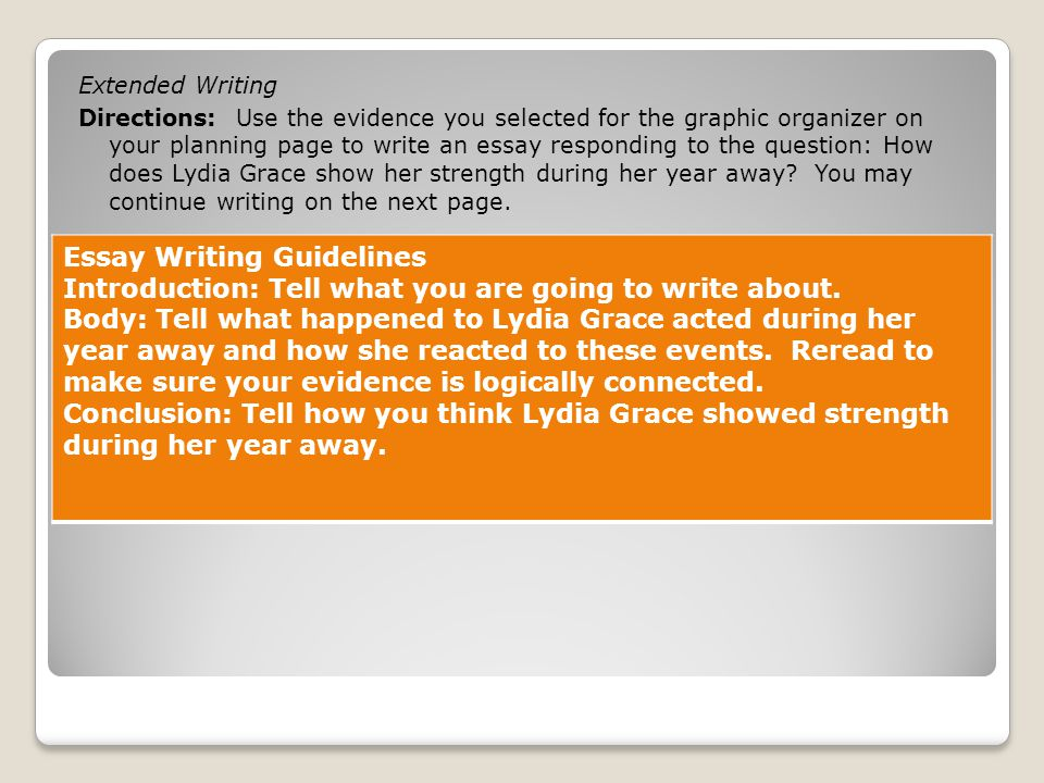 essay guidlines Essay guidelines writing is an act of communication, and the impression you make on paper is central to your overall credibility the ideal essay is an interesting, original exploration of some topic or text that demonstrates a clear understanding of the theory or critical method employed.