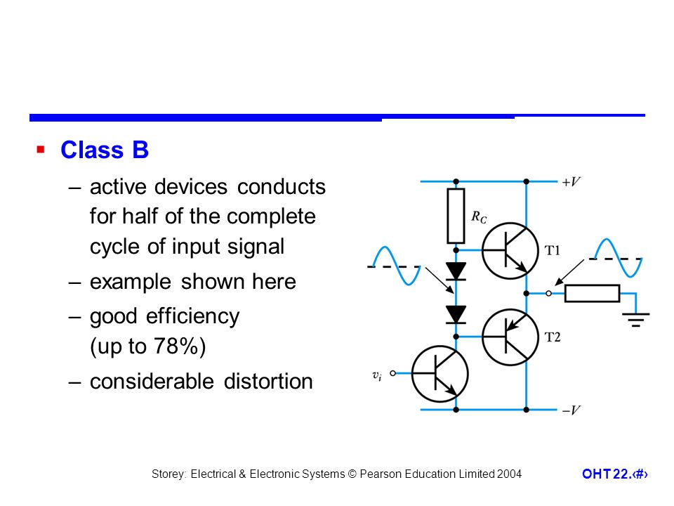 Class B active devices conducts for half of the complete cycle of input signal. example shown here.