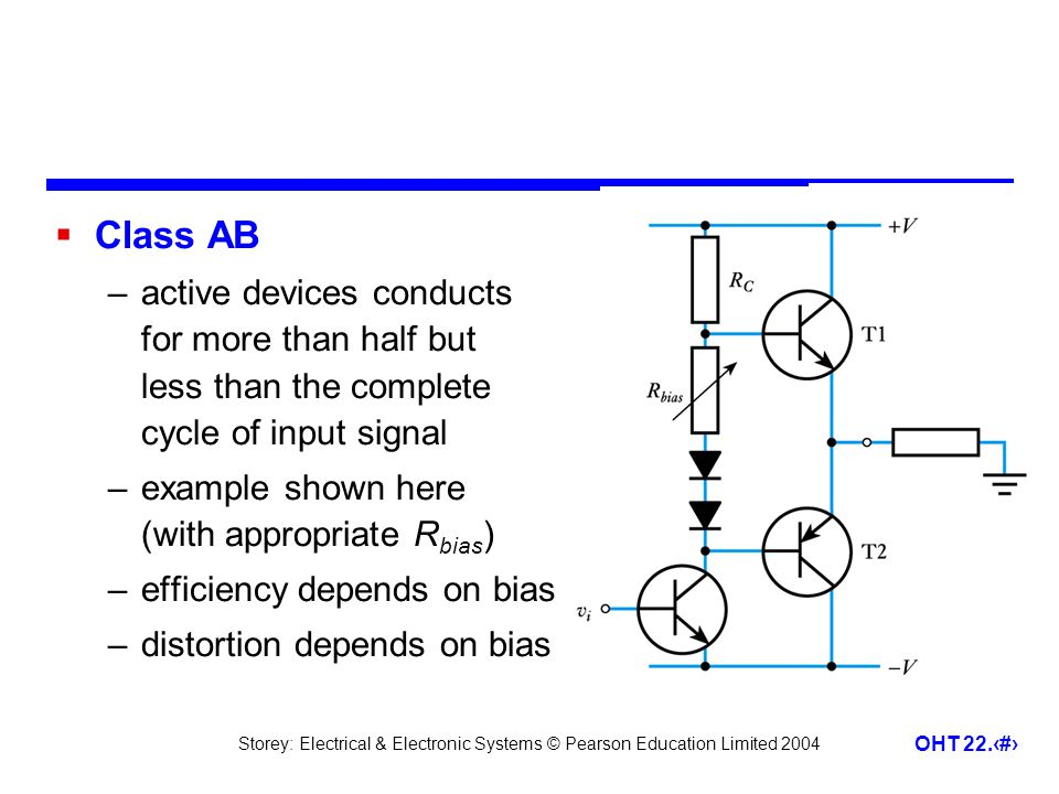 Class AB active devices conducts for more than half but less than the complete cycle of input signal.