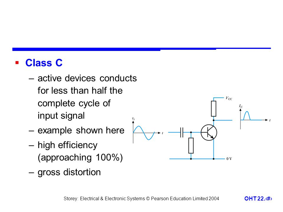 Class C active devices conducts for less than half the complete cycle of input signal. example shown here.
