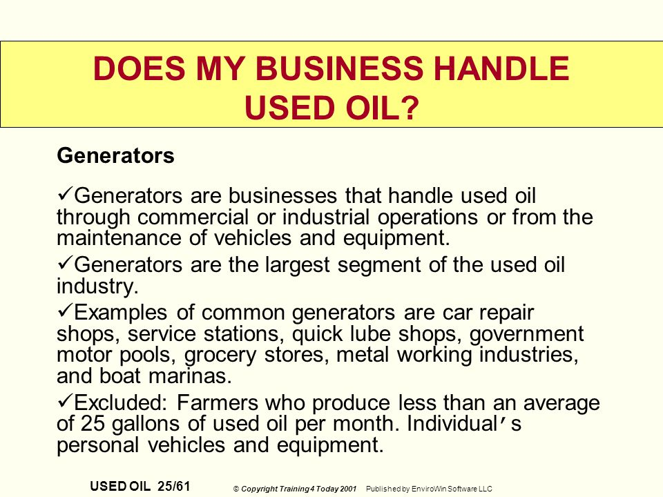 Used Oil And Oil Filters Customized Environmental Ppt: what do i do with used motor oil
