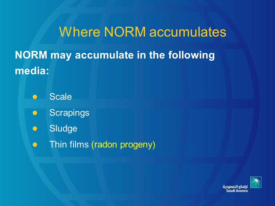 Where NORM accumulates