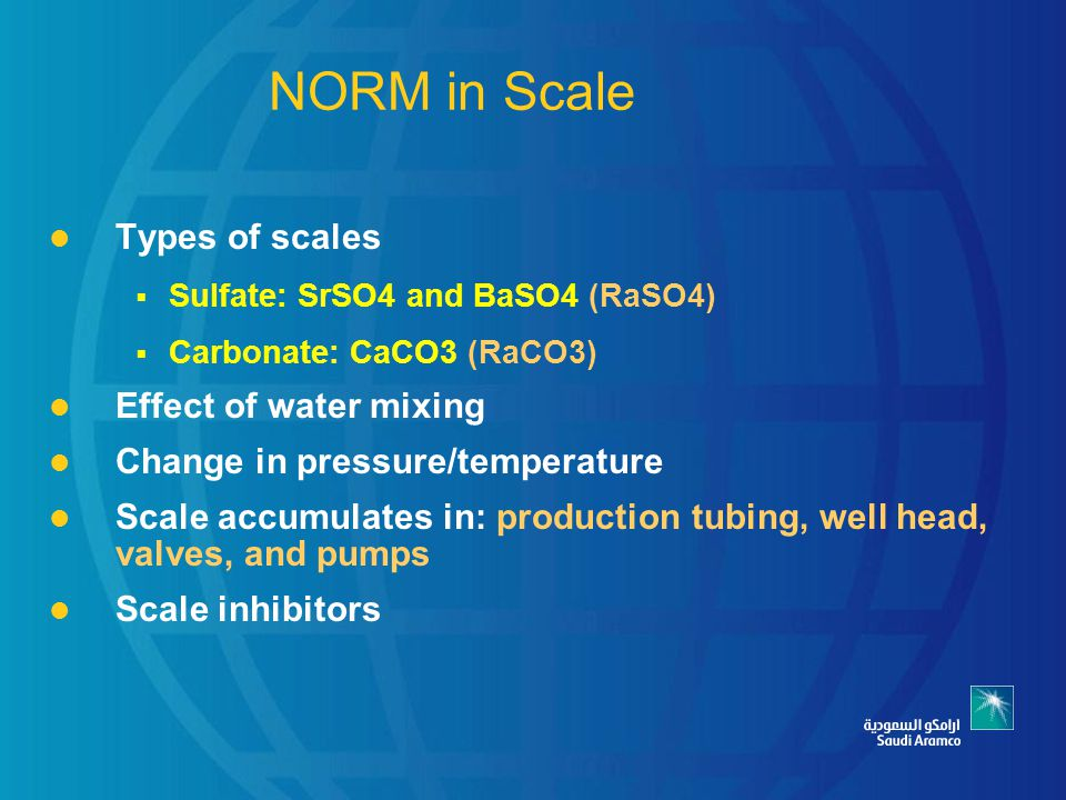 NORM in Scale Types of scales Effect of water mixing