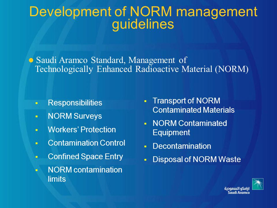 Development of NORM management guidelines