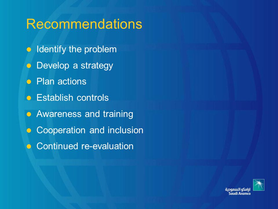 Recommendations Identify the problem Develop a strategy Plan actions