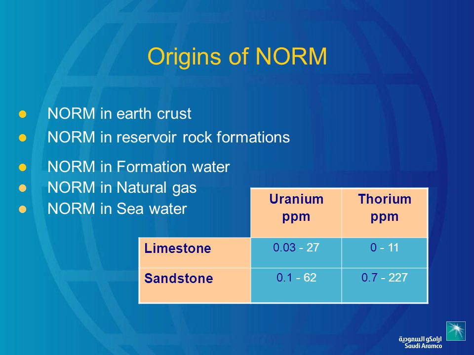 Origins of NORM NORM in earth crust NORM in reservoir rock formations