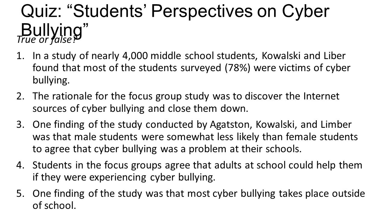 Free research papers on cyber bullying