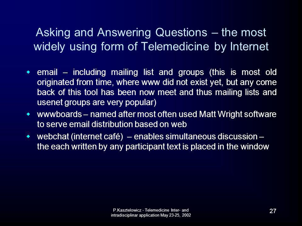 Asking and Answering Questions – the most widely using form of Telemedicine by Internet