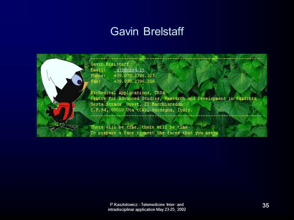 Gavin Brelstaff P.Kasztelowicz - Telemedicine Inter- and intradisciplinar application May 23-25, 2002.