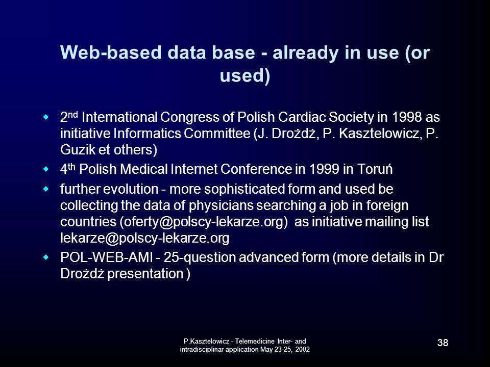 Web-based data base - already in use (or used)