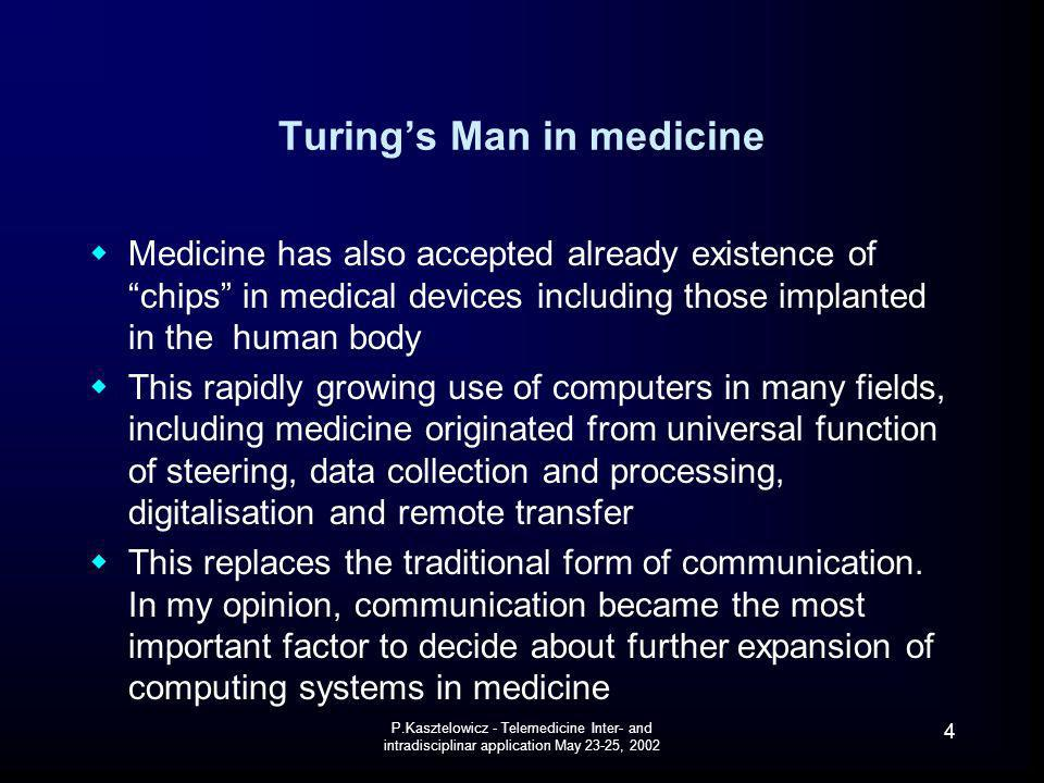 Turing's Man in medicine