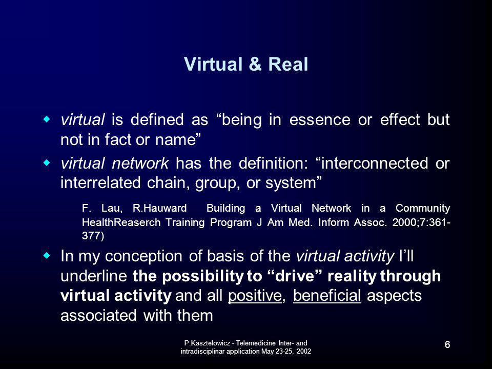 Virtual & Real virtual is defined as being in essence or effect but not in fact or name