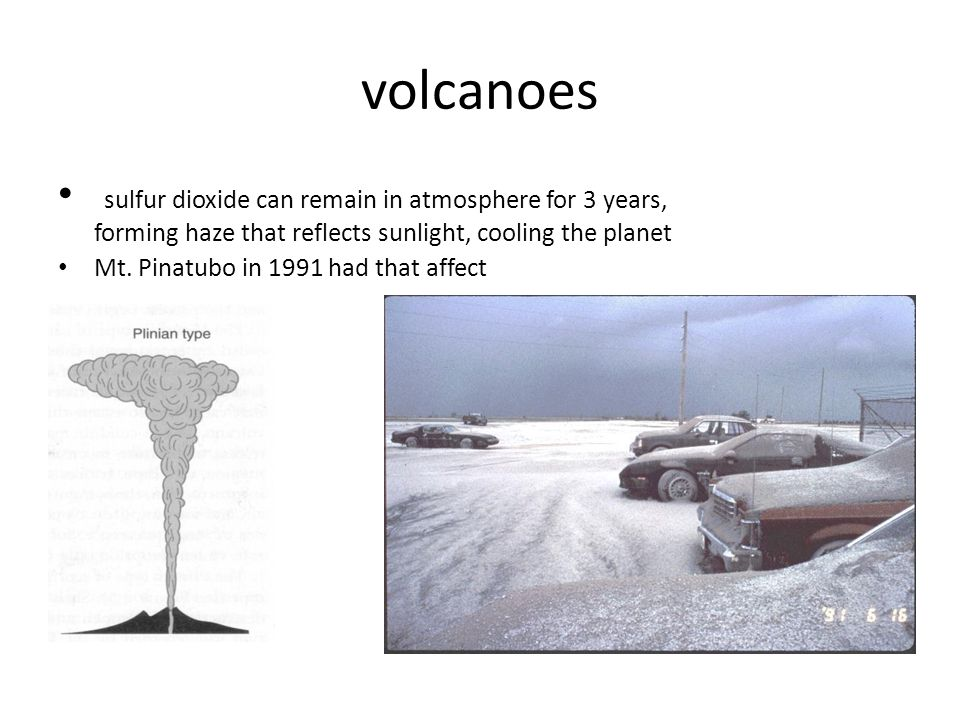 volcanoes sulfur dioxide can remain in atmosphere for 3 years, forming haze that reflects sunlight, cooling the planet.