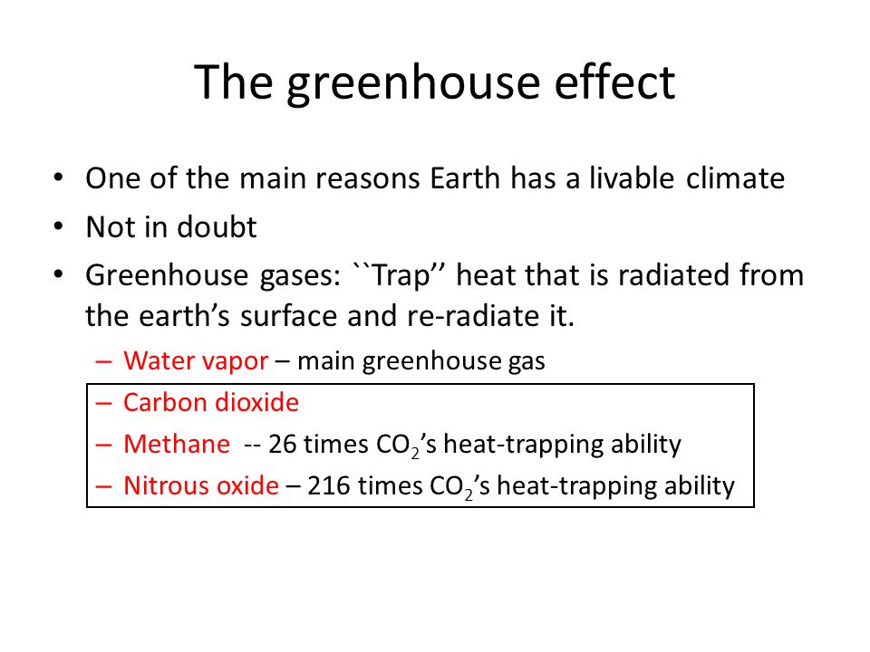 The greenhouse effect One of the main reasons Earth has a livable climate. Not in doubt.
