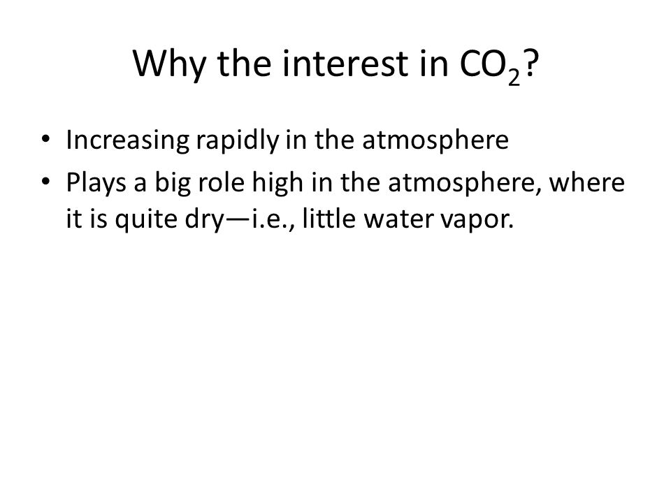 Why the interest in CO2 Increasing rapidly in the atmosphere