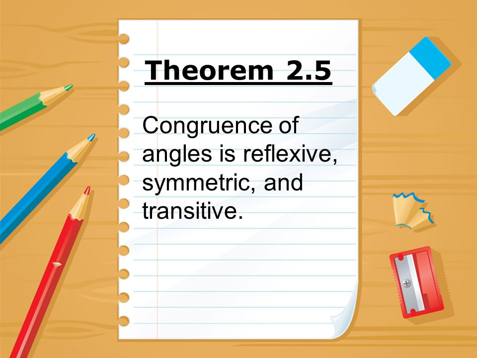 Theorem 2.5 Congruence of angles is reflexive, symmetric, and transitive.