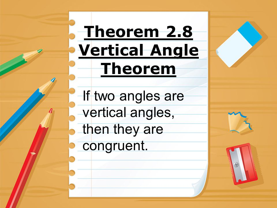 Theorem 2.8 Vertical Angle Theorem
